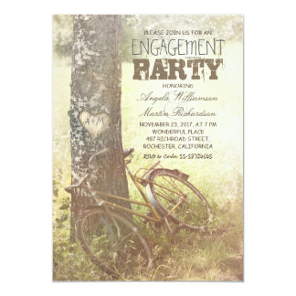 love tree rustic country engagement party invite