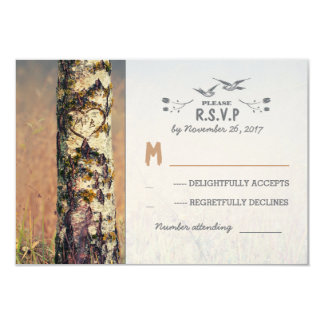 love tree rustic country wedding RSVP cards