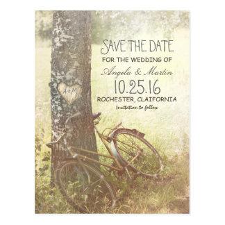 love tree rustic vintage save the date postcard