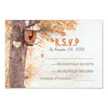 Love tree rustic wedding response cards