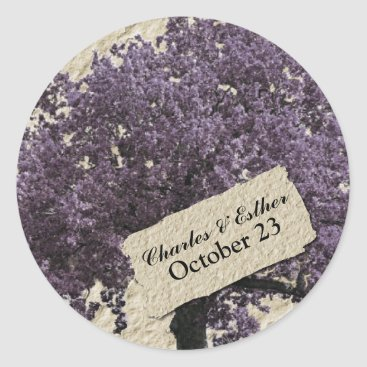 Valentines Themed Love Tree Vintage Lilac Save the Date Heart Classic Round Sticker