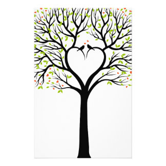 Love tree with heart branches, birds and hearts stationery design