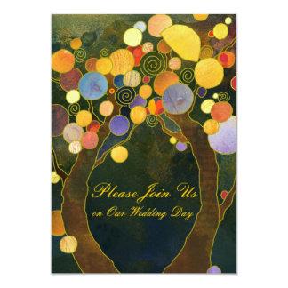 Love Trees Hip Wedding Invitations (Dark Back)