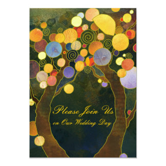 Love Trees Hip Wedding Invitations (Dark Back)
