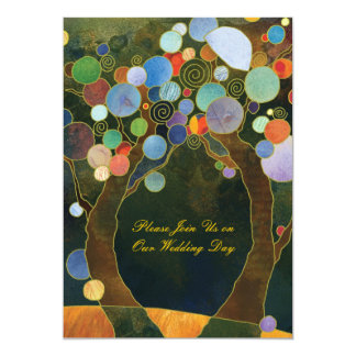 Love Trees in Blue Artistic Country Wedding Card