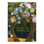 Love Trees in Blue Artistic Country Wedding Invite