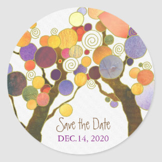 Love Trees Indie Wedding Save the Date Stickers