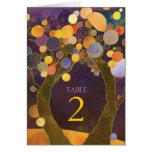 Love Trees Purple Wedding Table Number Folded Card