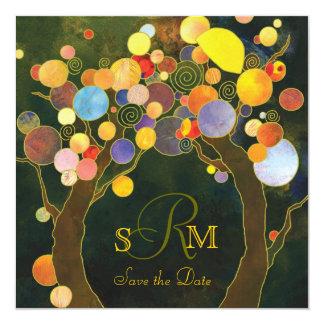 Love Trees Rustic Monogram Wedding Card