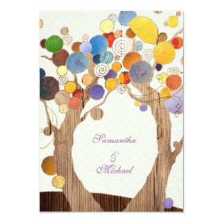 Love Trees + Wood Grain Rustic Wedding Card