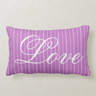LOVE Trendy Pin Stripes Purple and White A14 Lumbar Pillow