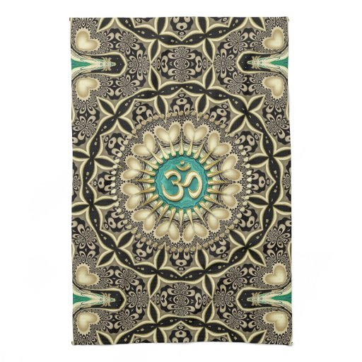 Love Tribal Black Gold OM Mandala Home Decor Hand Towel