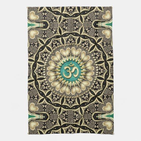 Love Tribal Black Gold OM Mandala Home Decor Hand Towel