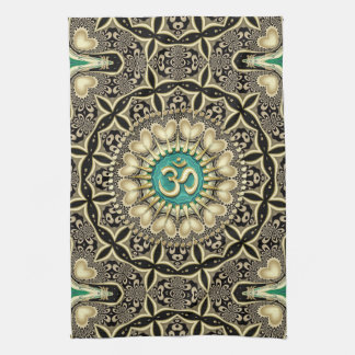 Love Tribal Black Gold OM Mandala Home Decor Kitchen Towels