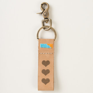 LOVE - Triple Heart- Leather Keychain