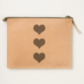 LOVE - Triple Heart- Leather Travel Pouch