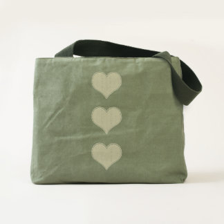LOVE - Triple Heart v1- Canvas Utility Tote
