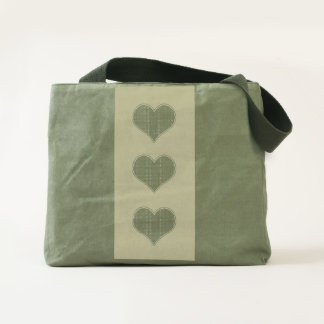 LOVE - Triple Heart v2- Canvas Utility Tote