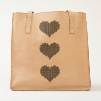 LOVE - Triple Hearts- Leather Tote