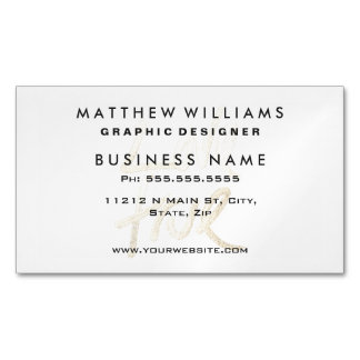 """""""Love True"""" Typography- Faux Painted Gold & White Business Card Magnet"""