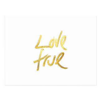 """""""Love True"""" Typography- Faux Painted Gold & White Postcard"""