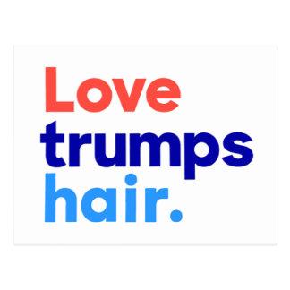 """""""LOVE TRUMPS HAIR"""" POSTCARD"""