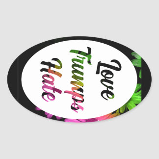Love Trumps Hate Oval Sticker