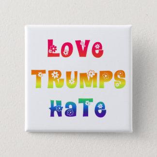 Love Trumps Hate-Rainbow Gradient Colorul Flowers Button