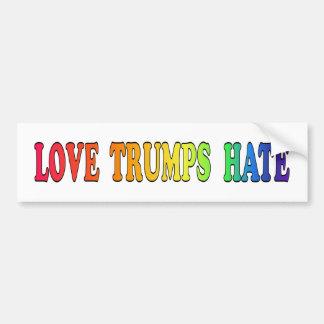 Love Trumps Hate-Rainbow Letters-White Background Bumper Sticker