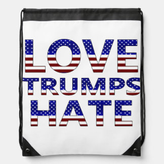 Love Trumps Hate Stars and Stripes Drawstring Backpack