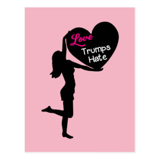 Love Trumps Hate Womens Rights Postcard
