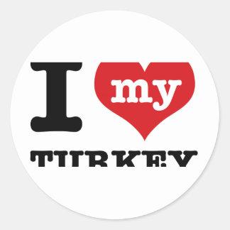 love Turkey Classic Round Sticker