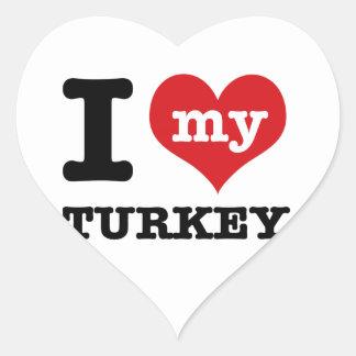 love Turkey Heart Sticker