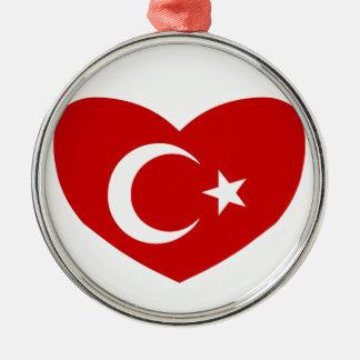 Love Turkey Round Metal Christmas Ornament