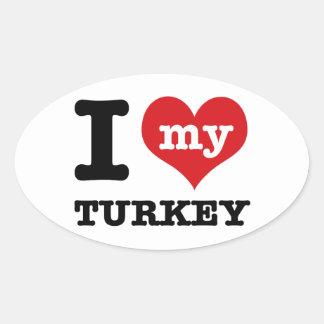 love Turkey Oval Sticker