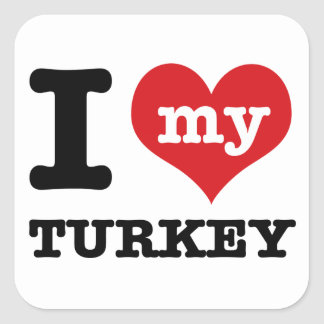 love Turkey Square Sticker