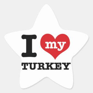 love Turkey Star Sticker