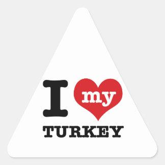 love Turkey Triangle Sticker