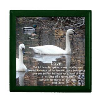LOVE-Two Swans Swimming/Gibran Verse Jewelry Box