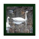 LOVE-Two Swans Swimming/Gibran Verse Trinket Box
