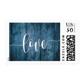 Love Typography and Rustic Blue Wood Postage