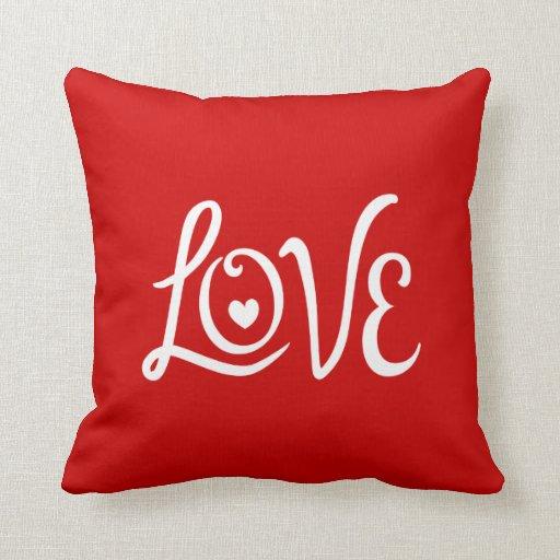 Throw Pillow Zazzle : LOVE Typography Art Throw Pillow Zazzle