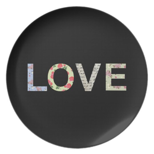 Love typography - Black Melamine Plate