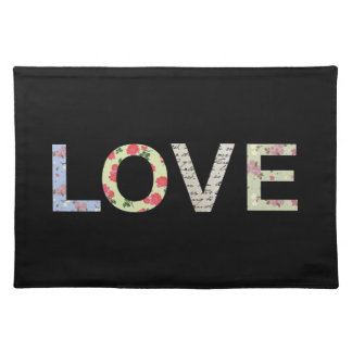 Love typography - Black Placemat