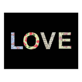 Love typography - Black Postcard