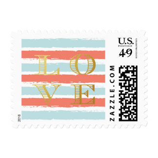 Love Typography Coral Pink Blue Textured Stripes Postage