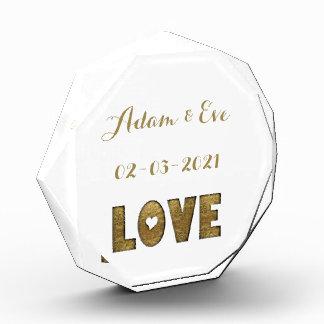 Love Typography Gold Elegant Wedding Engagement Acrylic Award