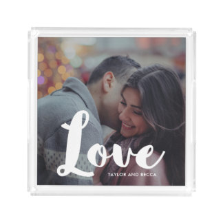 Love Typography Photo and Names Tray