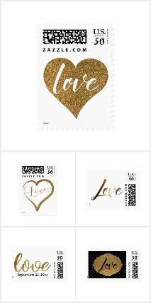Typography Postage Stamps Featuring the word Love