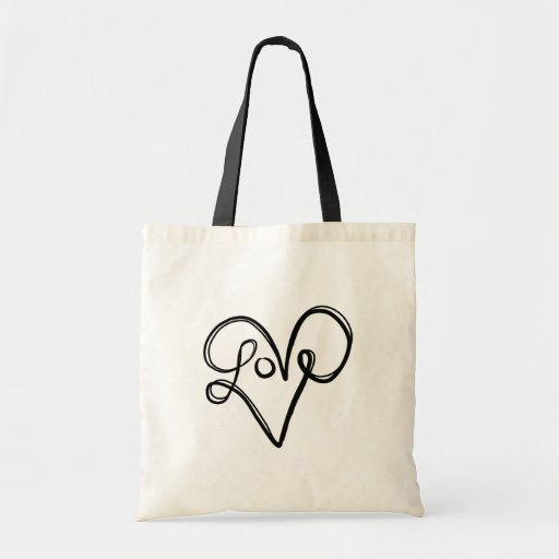 Love Typography Text Art Bag